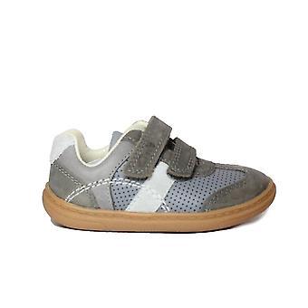 Clarks Flash Metra Toddler Dark Grey Leather Boys Rip Tape Shoes