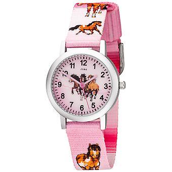 Los niños JOBO ver a chica de caballo de caballos aluminio rosa niños reloj