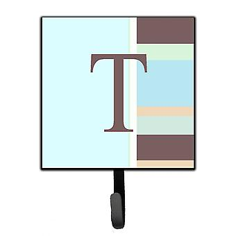 Letter T Initial Monogram - Blue Stripes Leash Holder or Key Hook
