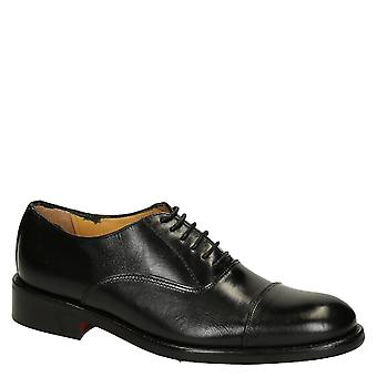 Black calf leather men's plain cap toe oxfords shoes