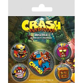 Crash Bandicoot Pop Out Pin Düğme Rozetleri Seti