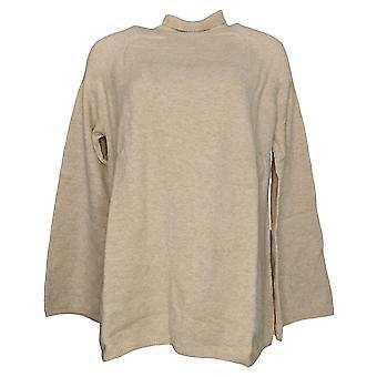 Du Jour Women's Sweater Mock Neck Bell Sleeve Beige A300208