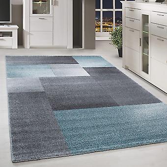 Short flor design rug rectangle plaid modèle de salon tapis gris bleu marbré