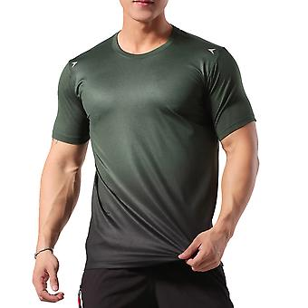 Allthemen Men's Round Neck Gradient Stretch Quick-Drying Short T-shirt