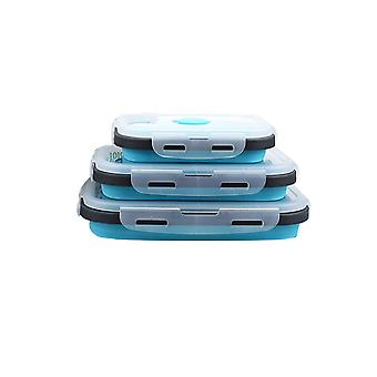 Set of 3 PCS food-grade silicone sealed food storage boxes, leak-proof foldable storage box