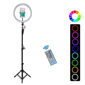 1 set flash led ring light desktop live removable tripod stand phone clip holder for youtube tiktok makeup with bluetooth control