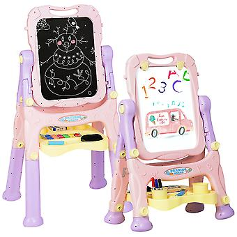 2 IN 1 Kids Double Sided Art Easel Height Adjustable Magnetic Drawing Board Purple