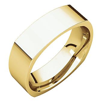 14k Yellow Gold 6mm Square Comfort Fit Band Ring - Ring Size: 3.5 to 15