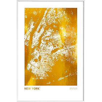 JUNIQE Print - Goud New York - New York Poster in goud en wit