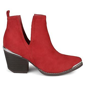 Brinley Co Womens Faux Suede Stacked Wood Heel Metal Detail Side Slit Booties