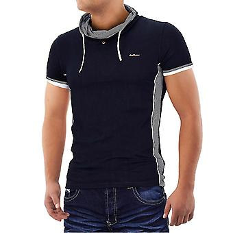 Män Metro stil T-Shirt v-ringning Polo Stretch Slim fit Hollywood Clubwear skjorta