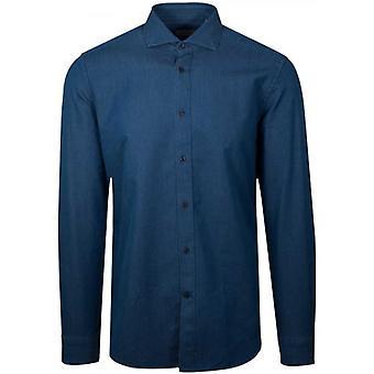 CC Collection Corneliani Dark Blue Long Sleeve Spread Collar Shirt