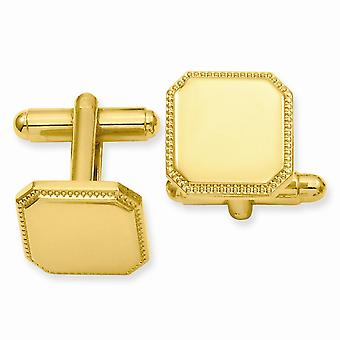 14k Or plaqué Solide Poli Cadeau Poli Engravable (avant seulement) Square Perled Cuff Links Bijoux Cadeaux pour hommes