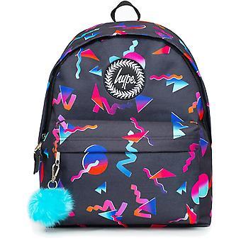 Hype Disco Neon Shapes Pom Pom Backpack Bag Black 93