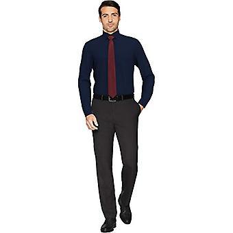 KNAPPET NED Menn's Skreddersydd Passform Spread-Collar Solid Non-Iron Dress Skjorte, Na...