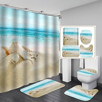 Products Coastal Beach-scenery Printed Pattern, Shower Curtain With Hooks,