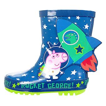 George Pig Laxis Boys Wellies Blue UK Sizes Child 5 -10