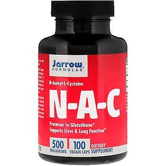 Fórmulas Jarrow, N-A-C N-Acetil-L-Cisteína, 500 mg, 100 Cápsulas Vegetarianas