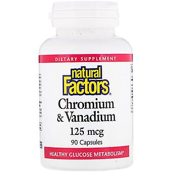Natural Factors, Chromium & Vanadium, 125 mcg, 90 Capsules