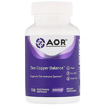 Advanced Orthomolecular Research AOR, Zinc-Copper Balance, 100 Vegetarian Capsul