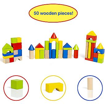 Abeec Just Kids Wooden Building Set with 50 Blocks in 5 colours and 9 shapes