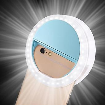 1pc Mobile Phone Light Clip Selfie Led Auto Flash For Cell Phone Smartphone Round Portable Selfie Flashlight Makeup Mirror