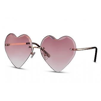 Sunglasses ladies heart-shaped rimless cat. 2 gold/pink