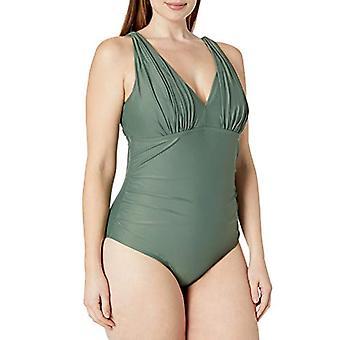 Brand - Coastal Blue Women's Plus Size One Piece Swimsuit, Desert Palm...