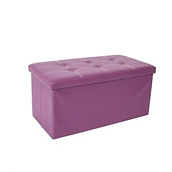 Rebecca Furniture Pouf Storage Holder Sitting Container Purple Ecopelle 38x76x38