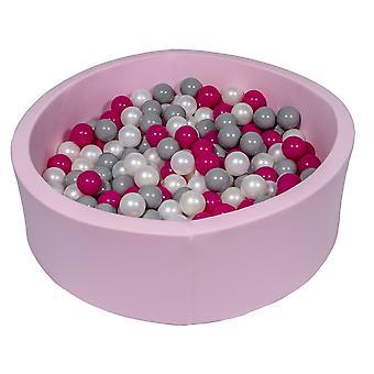 Różowy pit kulowy 90 cm z 300 kulkami z perły, fioletu i szarości