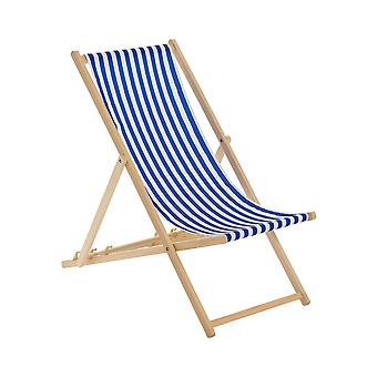 Traditional Adjustable Garden / Beach-style Deck Chair - Blue / White Stripe