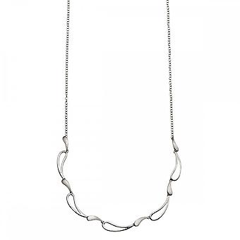 Beginnings Sterling Silver N4108 Polished And Brushed Wave Necklace
