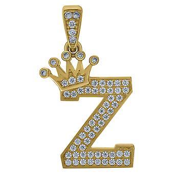 10k Sárga Arany Férfi Nők Cubic Cirkónia CZ Koronás levél neve személyre szabott monogram kezdeti Z Charm medál nyaklánc