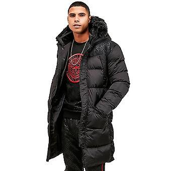 Glorious Gangsta   Vernier Faux Fur Puffa Parka Long Jacket - Black