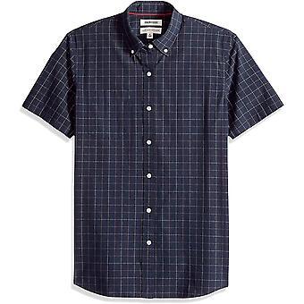 Goodthreads Men's Standard-Fit Short-Sleeve Plaid Poplin Shirt, -navy windowpane, XXX-Large Tall