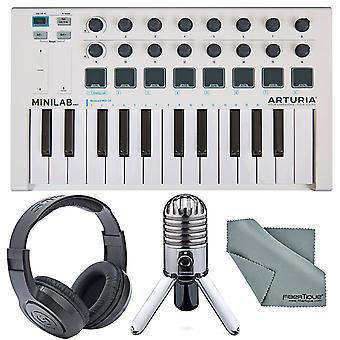 Arturia minilab mk ii portable universal usb-midi controller and deluxe bundle w/ samson meteor usb studio mic + fibertique cleaning cloth