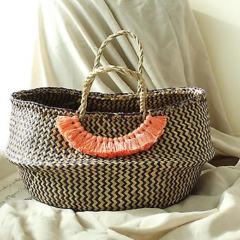 Extra Wide Zig-zag Belly Basket - With Champagne Tassels