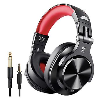 OneOdio Fusion A70 Studio Bluetooth Headphones with 6.35mm and 3.5mm AUX Connection - Headset with Microphone DJ Headphones Red