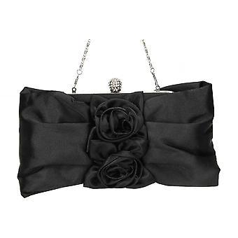 JWF Silver Satin Floral Evening Clutch Bag Purse