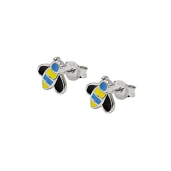 Earrings Stud Bee Blue-yellow Silver 925
