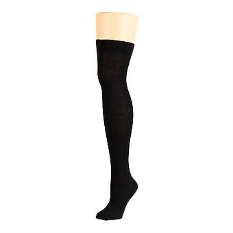Flirt Plain Over The Knee Socks Black