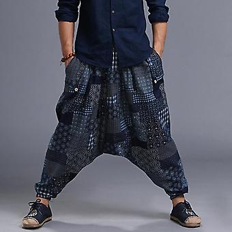 Fashion Hip Hop Baggy Cross Harem Pants, Print Elastic Waist Ankle Loose Casual