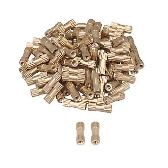 100Pcs Brass Knurled Nuts Thumb Nuts Embedded Nuts M2 Thread 10mm Length