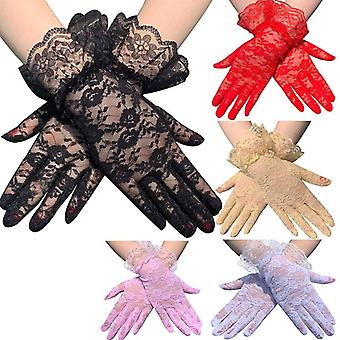 Lady Lace Party Sexy Dress Gloves, Summer Full Finger Sunscreen Gloves Mittens