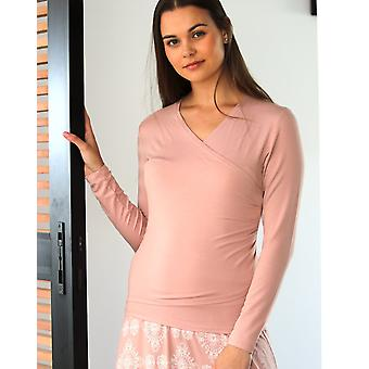 Long Sleeve Wrap Top with Ruched Side