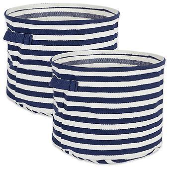 Dii Pe rivestito a spina di pesce tessuto cotone biancheria bin stripe francese blu rotondo piccolo (set di 2)
