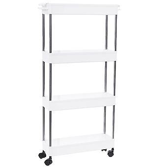 Modern Home 4 Tier Narrow Sliding Storage Organizer Rack - Laundry/Bathroom/Kitchen Rolling Cart - Customizable Wheeled/Countertop Utility Cart