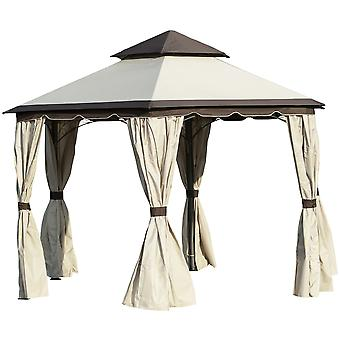 Outsunny 3.4m Hexagonal Metal Gazebo Garden Pavilion Outdoor Marquee Canopy Wedding Party Tent Shelter w/ Sidewall Panels