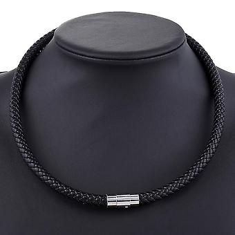 Men's Leather Choker Braided Rope Chain Necklace
