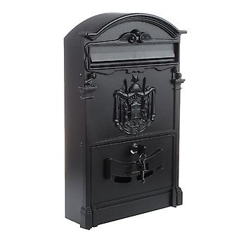 Heavy Duty Black Aluminium Lockable Secure Mail Letter Post Box Letterbox